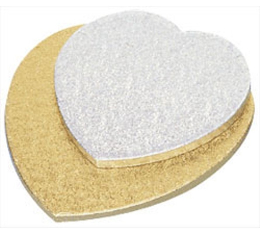 Heart shaped cake boards. Gold or silver foil. Sturdy masonite