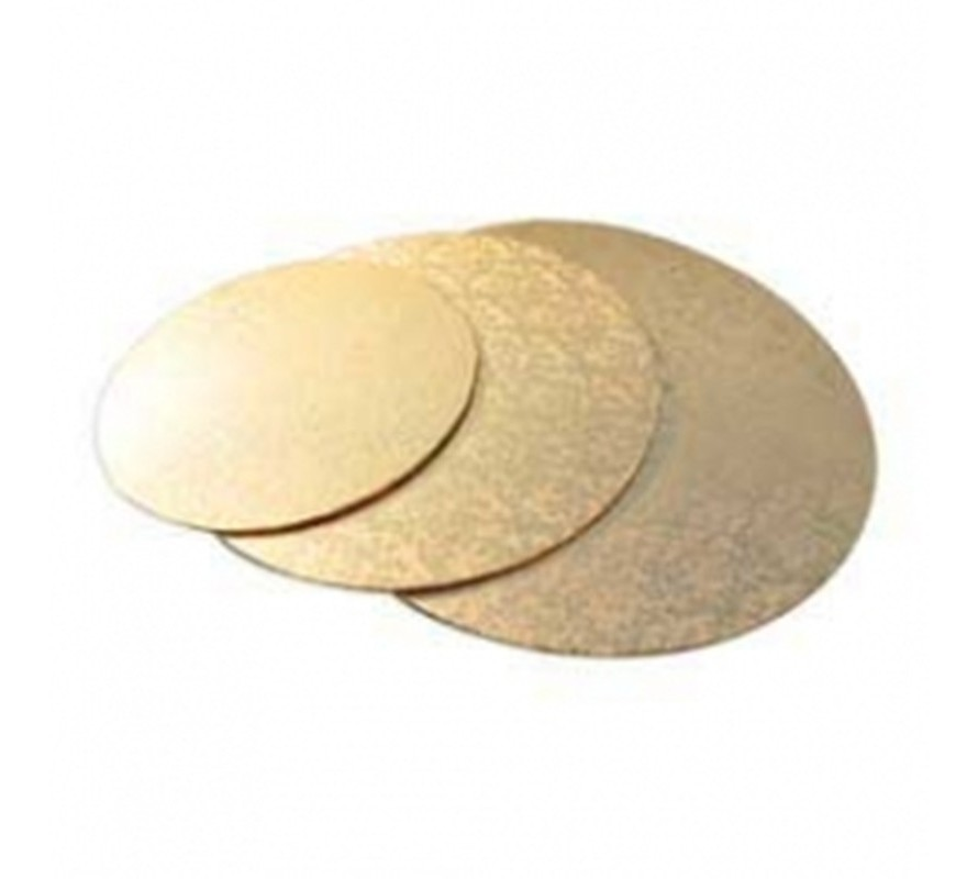 Gold coloured round cake boards. Strong masonite can take heavy cakes