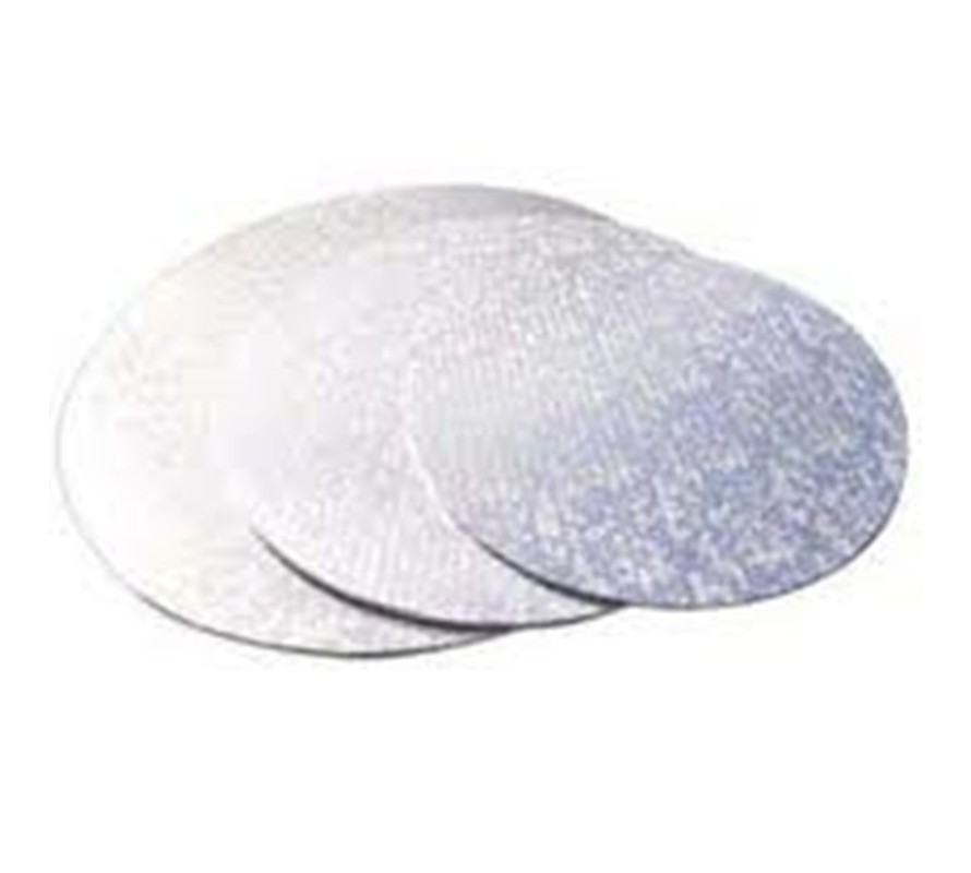 Silver coloured round cake boards Strong masonite can take heavy cakes