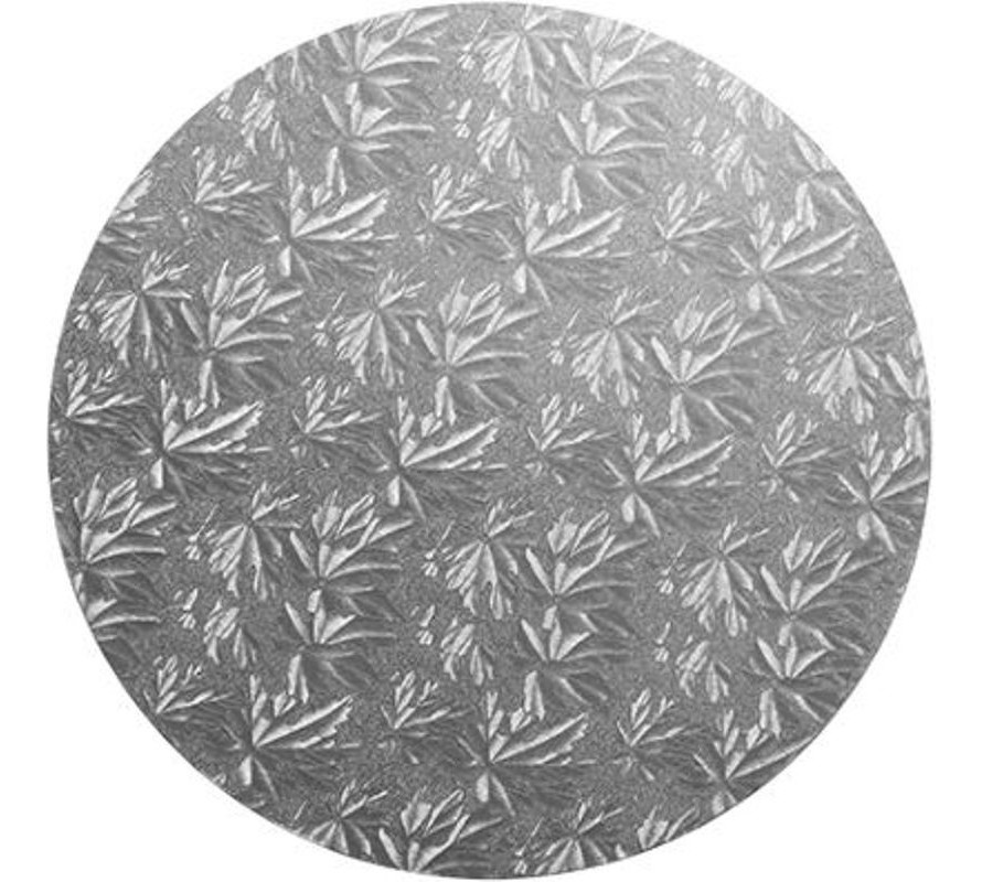 Silver round foil covered cake drum boards 12mm thick