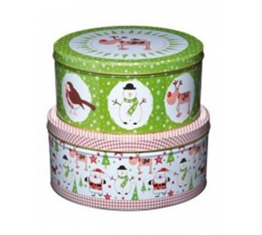 Christmas storage cake tins