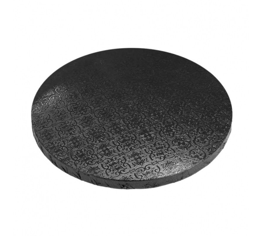 Black coloured round cake boards. Strong MDF suitable for heavy cakes