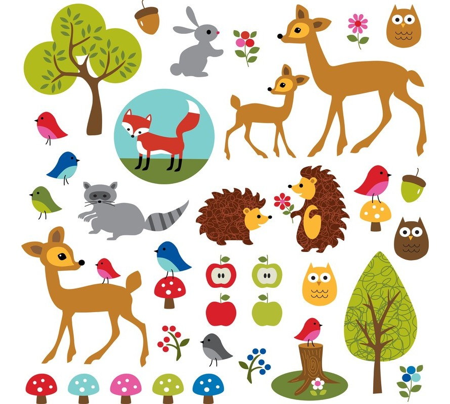 Cute woodland animals party theme items.