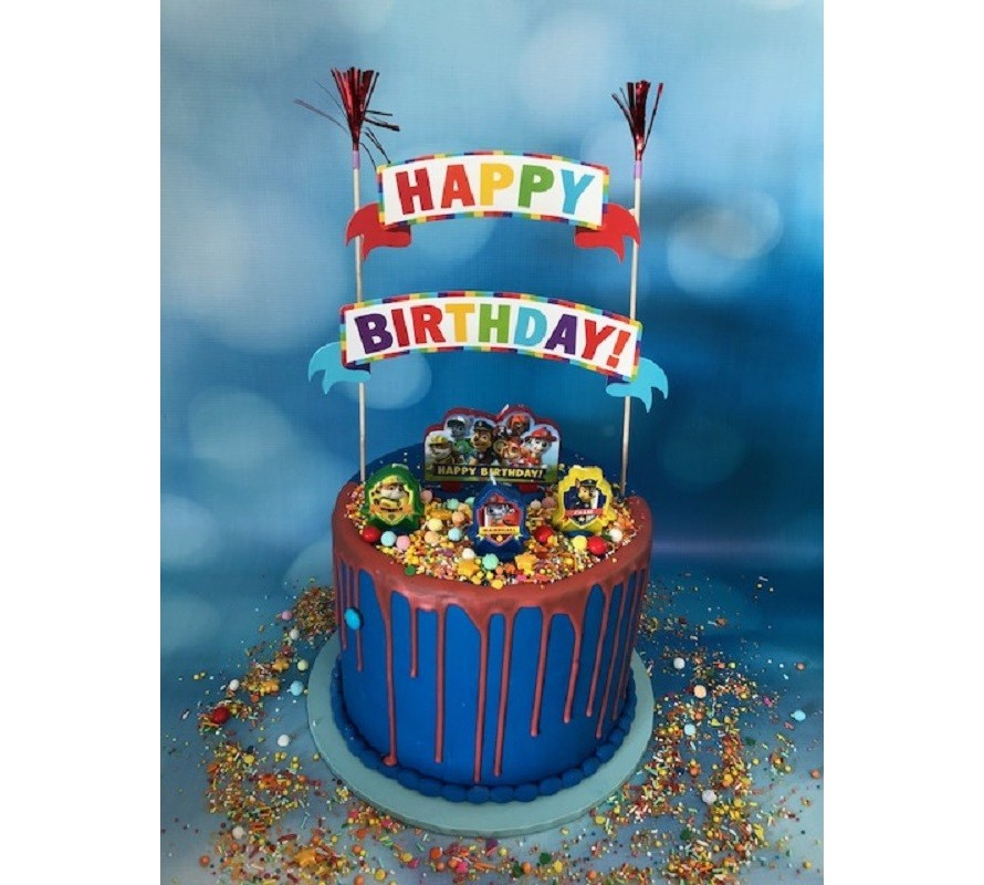 Fun cake kits include sprinkle medley, candle set and birthday banner.
