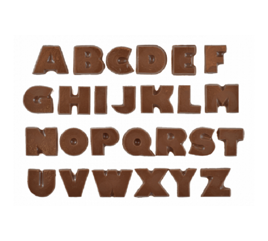 Alphabet number and celebration phrase chocolate moulds a wide variety