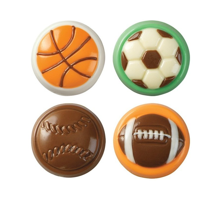 Sports themed chocolate moulds for the soccer rugby or basketball fan