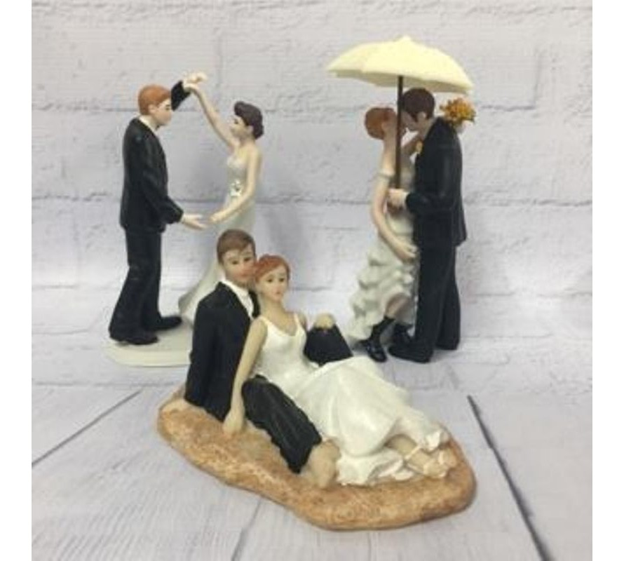 Bride & groom figurines & acrylic word wedding cake toppers